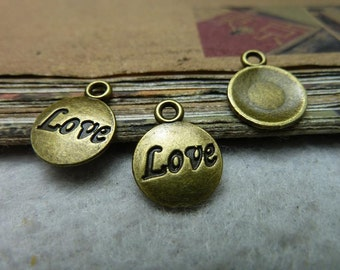 100pcs 15*12mm antique bronze Love charms pendant C7693