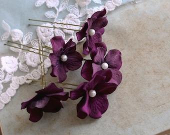 Purple Wedding Bridal Hair Pins (5pcs) Small Velvet Hydrangea Flowers Bridesmaids Gift Bridal Accessories Purple Hair Flowers with Pearls