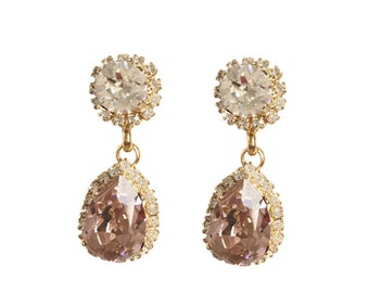 Custom Handmade Swarovski Crystal Rhinestone Bridal Drop Earrings in Blush Pink and Gold - Bespoke Colours Available