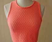 90s Crop Top // Womens Neon Pink Coral Belly Shirt 1990s Tank Top Sleeveless Blouse Clueless // XS S M L XSmall Small Medium Large