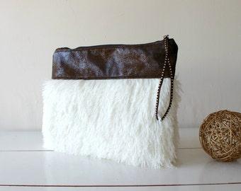Fur clutch, Vegan Clutch, glamorous and fun. Gift for her, wife gift. Fashion. Womens.