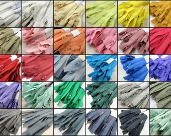 """10 x 20"""" Closed End Nylon Zips - Assorted Colors - Free UK 1st Class P&P"""