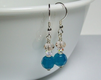 Swarovski Blue Crystal Earrings. Sterling Silver Swarovski Earrings. Dressy. Sparkly. Swarovski Dangle Earrings.