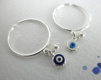 Evil eye dangle ring sterling silver with tiny pearl - adjustable evil eye ring - 925 solid sterling silver