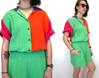 Vintage 80s 90s neon one-piece shorts romper womens size S or M