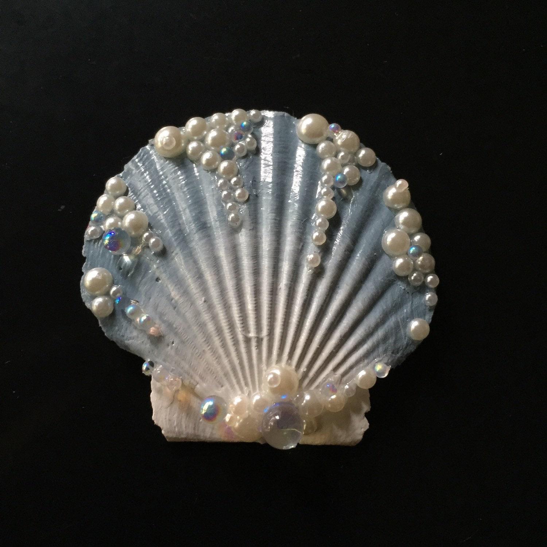 Mini sea glass blue seashell hair clip by landlockedm3rmaid for Seashells for hair