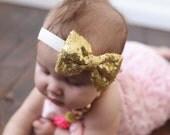 Gold Sequin Bow Headband - Baby Headband - Sequin Bow - Baby Girl Headband - Toddler Headband - Gold Bow Head band -  Baby Hair Bow