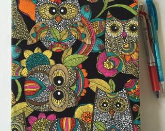 Fabric Covered Notebook – Owl Print Fabric