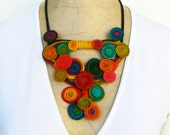 Bold bright necklace, Chunky spiral short necklace, Wire wrapped bib, Rainbow quirky choker, Swirl necklace, Wearable art jewelry unique