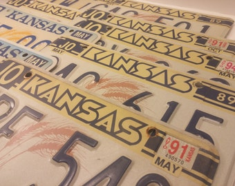 Vintage Kansas License Plates - 9 plates available, for crafting, man cave, home bar, garage  - Pac Man letter 88-90 issue plates!