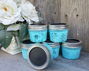 Shabby Chic Spice Jars - Chalkboard Lid White Upcycled Canning Spice Jars