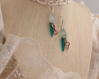 Glass Earrings in Teal and Sage.  FREE SHIPPING