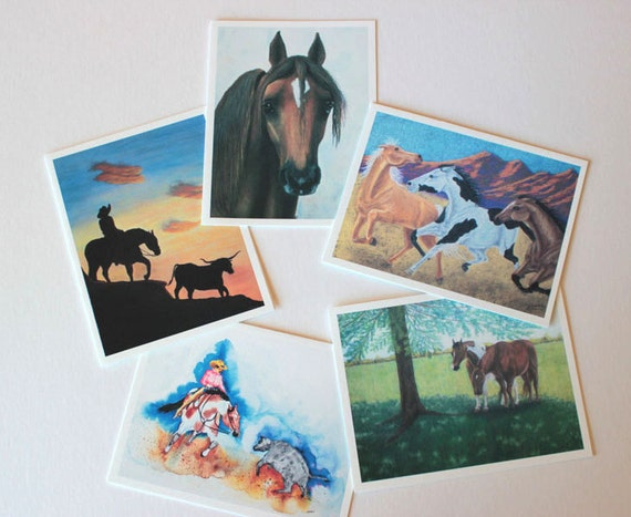 Equine Art, Horse Art, box of 10 w/envelopes, Fine Art Greeting Card Set, Blank Greeting Cards, note cards, horse paintings