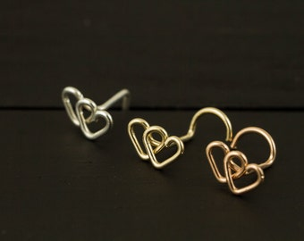 22gauge Double Heart nose screw