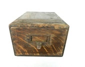 Vintage Wood File Card Box Dovetailed