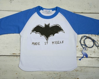 Batman TShirt - Toddler Batman Shirt - Baby Raglan Batman Shirt - Superhero Shirt - Boy's Birthday Shirt - Cool Shirt - Boy's Raglan Tee