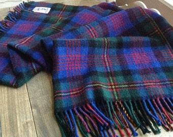 Samuel Tweed Royal Scot all Wool Vintage Plaid Blanket Blue, Red, Black, Green and Yellow