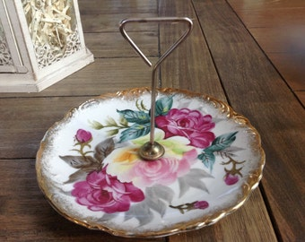 Beautiful Vintage Tidbit Tray with Hand Painted Floral Design and Gold Trim Maso Shafford Ware Japan