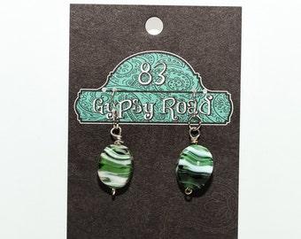 E069K, E070K, E071K Green & White Zebra Striped Earrings