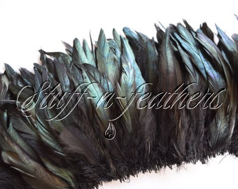 Wholesale / bulk feathers - IRIDESCENT Black rooster coque tail and schlappen feathers, mixed black rooster feathers, strung / FB191