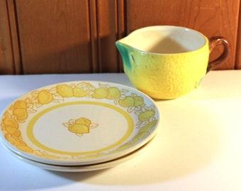 SUMMER SWOON SALE Vintage Goebel Lemon Creamer and A Pair of Vintage Lemon Plates