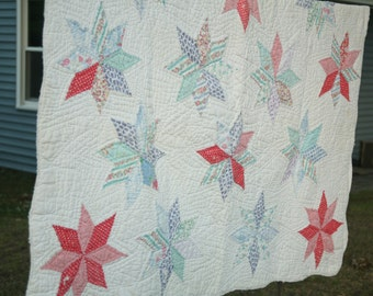 Vintage Patch Work Quilt, 1930s Fabric, Cottage Chic, Lap Blanket, Summer Cottage