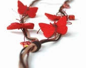 Red Butterfly Necklace, Fiber Necklace, Felt Jewelry, Nature , Boho Style Necklace