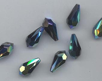 Twelve vintage Czech Preciosa crystal machine cut pendants - 18 x 9 mm - jet AB (style 451 51 984)