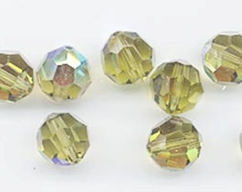 Twelve Swarovski crystals: art 5000 - 8 mm - khaki AB
