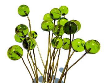 VINTAGE: 18 Green Glass Headpins - Embedded Brass Wire Glass Drops - (3-A6-00003232)