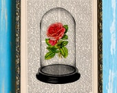 Bell Jar Rose Original Beauty and the Beast Art Print on Unframed Upcycled Bookpape