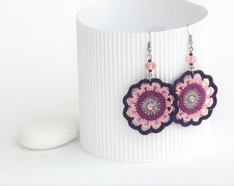 Romantic round earrings in pink,grey and violet - Crochet earrings - Gift for her