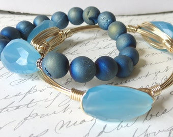 "Sky Blue Chalcedony Bangle Bracelet ""Bourbon and Bowties"" Inspired"