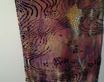 Silk and Rayon scarf in rust