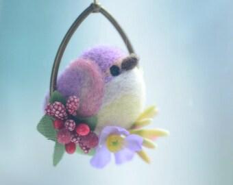 Needle felt bird pendant necklace, soft sculpture wool bird jewelry, purple bird on flower hoop pendant, whimsical jewelry, gift under 25