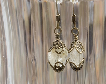 Citrine Nugget and Brass Dangly Drop Pierced Earrings 3666e