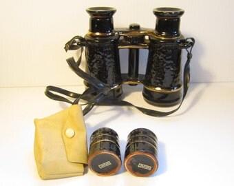 Vintage Flask Binoculars and 2 Shot Glasses