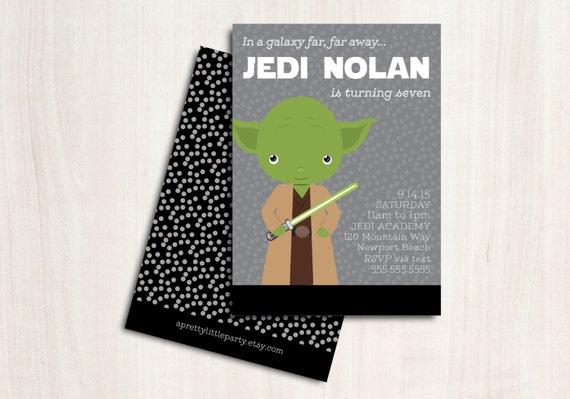 Yoda Birthday Invitation - Star Wars Party Invite - New Star Wars Party Supplies