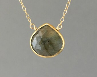 Small Labradorite Stone Bezel Set Gold Necklace