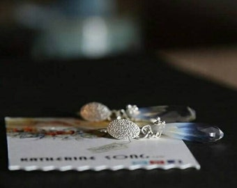 Sterling silver Swarovski crystal Airopal tear drop earrings, holiday gift,wedding earrings