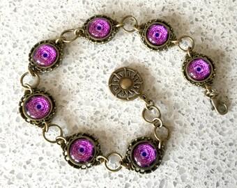 Fushia Pink Alchemical Mystic Design Link Bracelet