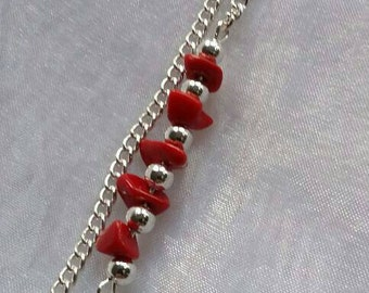 Red Gemstone Chips on Silver Plated Chain Necklace