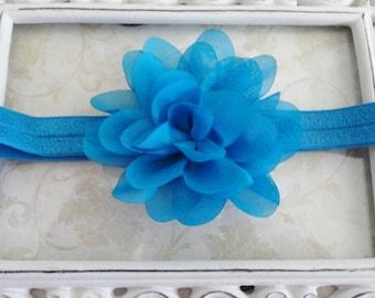 Baby Headband, Blue Turquoise Chiffon Flower Headband, Infant Headband, Newborn Headband, Girls Headband, Bow Headband