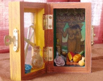 Bast Box Shrine. Miniature Nicho.  Travel Altar. Bastet. Shadow Box.