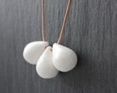Handmade ceramic drop beads - white pendant necklace
