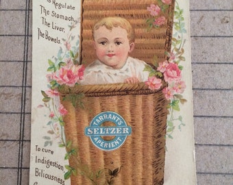Victorian Trade Card Tarrant's Seltzer Aperient Baby in Wicker Basket Antique Advertising Card 1890s Advertising Antique Emphemera