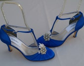 Royal Blue Wedding Shoes Vintage style, Brides Something Blue, Satin Rounded Toe,Closed Toe,D'Orsay Style T Strap,Old Hollywood,Great Gatsby