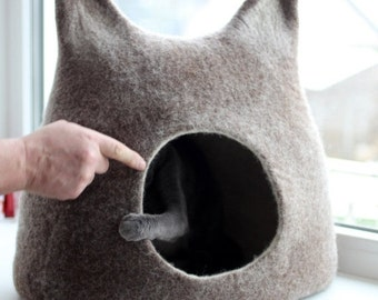 SALE Cat bed - cat cave - cat house - eco-friendly handmade felted wool cat bed - brown with natural white - made to order