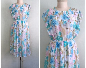 Printemps dress // vintage Japanese dress // 1970s pastel floral dress // s-m