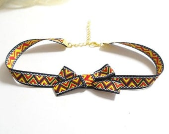 Statement Necklace Choker Black Chevron Tribal  Bow  Handmade Punk Rock , goth gothic Lolita cute steampunk